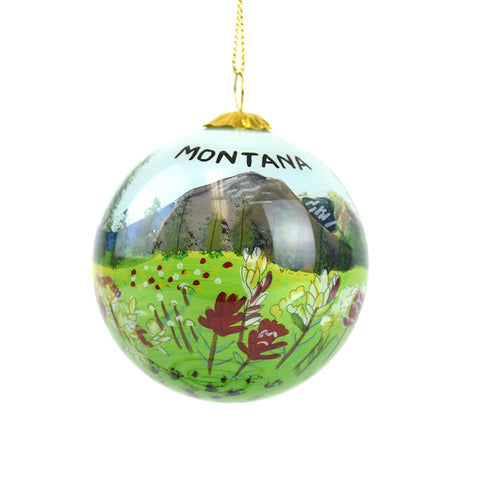 Pink and White Wildflowers and Montana Mountains Montana Christmas Ornament by Art Studio Company at Montana Gift Corral