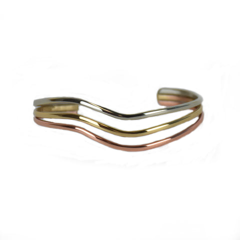 Rainbow Wave Mixed Metal Bracelet by Sergio Lub Jewelry