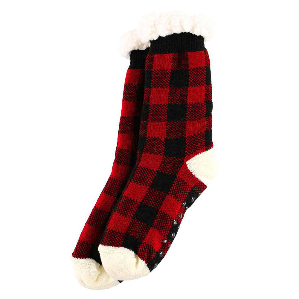 Red Plaid Plush Socks by Lazy One