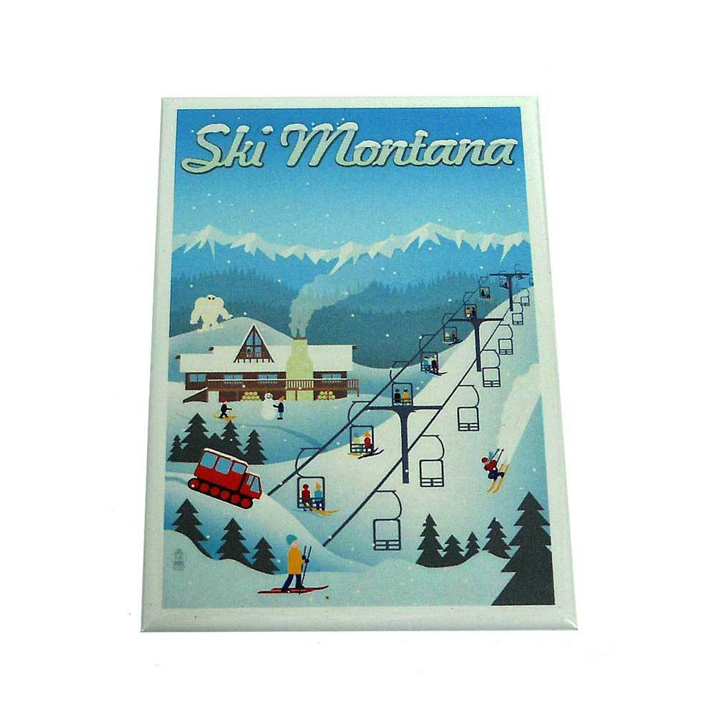 Retro Ski Resort Montana Magnet