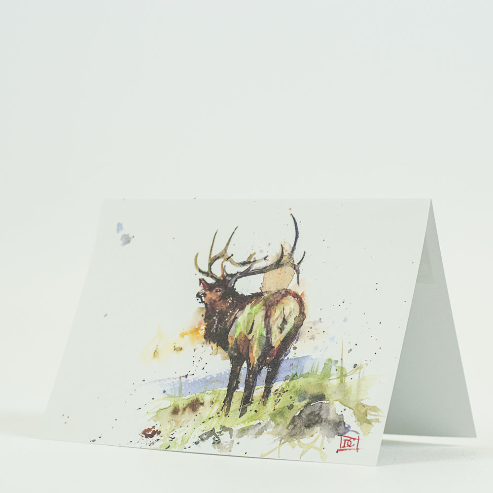 Ridge-line Elk Wildlife Watercolor Greeting Cards by Dean Crouser at Montana Gift Corral
