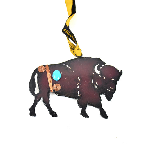 Rustic Metal Bison Ornament with Bling Montana Christmas Ornament by Art Studio Company at Montana Gift Corral