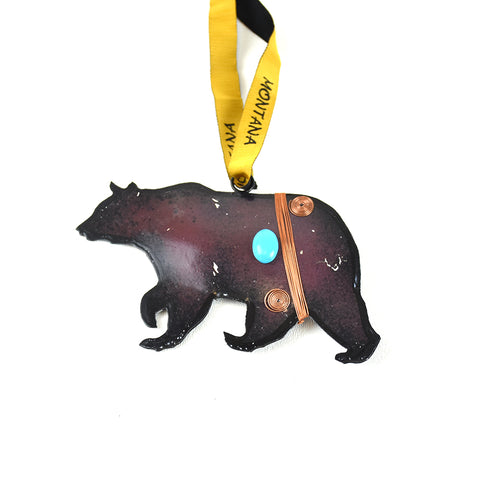 Rustic Metal Grizzly Bear Ornament with Bling Montana Christmas Ornament by Art Studio Company