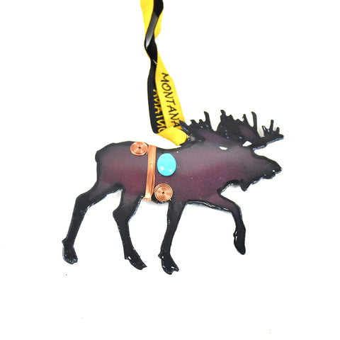 Rustic Metal Moose Ornament with Bling Montana Christmas Ornament by Art Studio Company