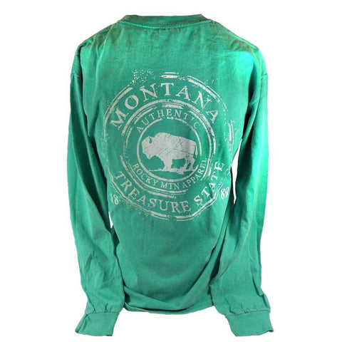 Sea Foam Coffee Ring Buffalo Montana Long Sleeve Shirt