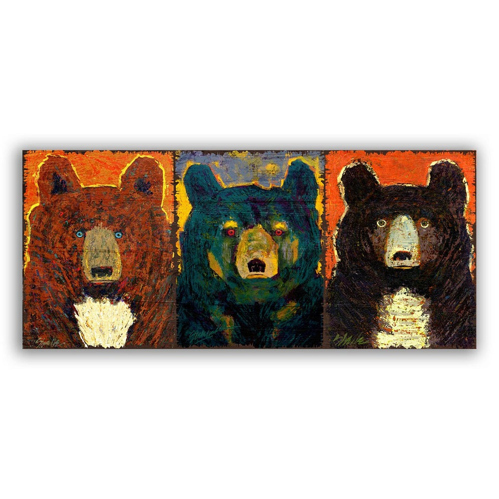 Earth Colors Shelle Lindholm Three Bear Line Up Wall Art by Meissenburg Designs