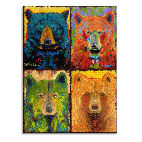 Bright Shelle Lindholm Four Bear Line Up Wall Art by Meissenburg Designs