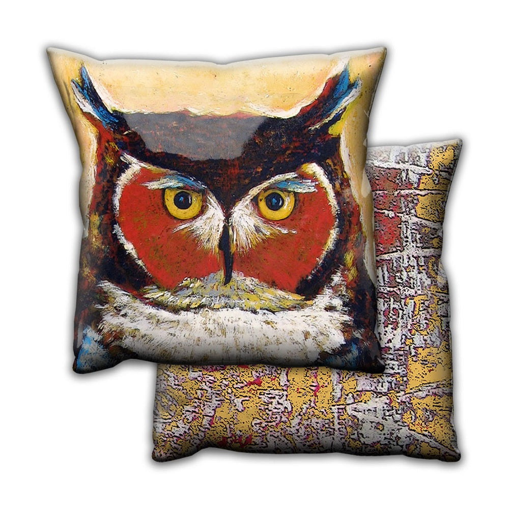 Shelle Lindholm Knowing Owl Pillow by Meissenburg Designs at Montana Gift Corral