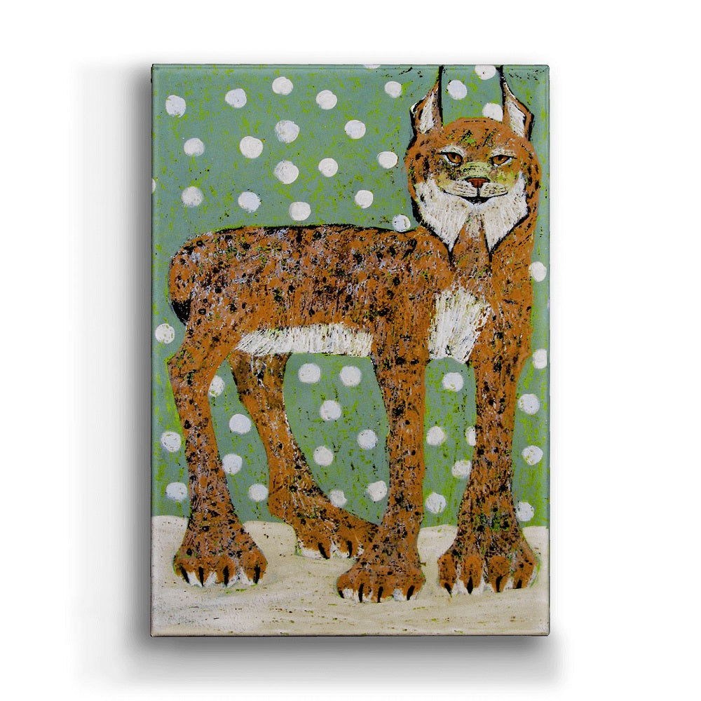Shelle Lindholm Snow Princess Bobcat Metal Box Wall Art by Meissenburg Designs