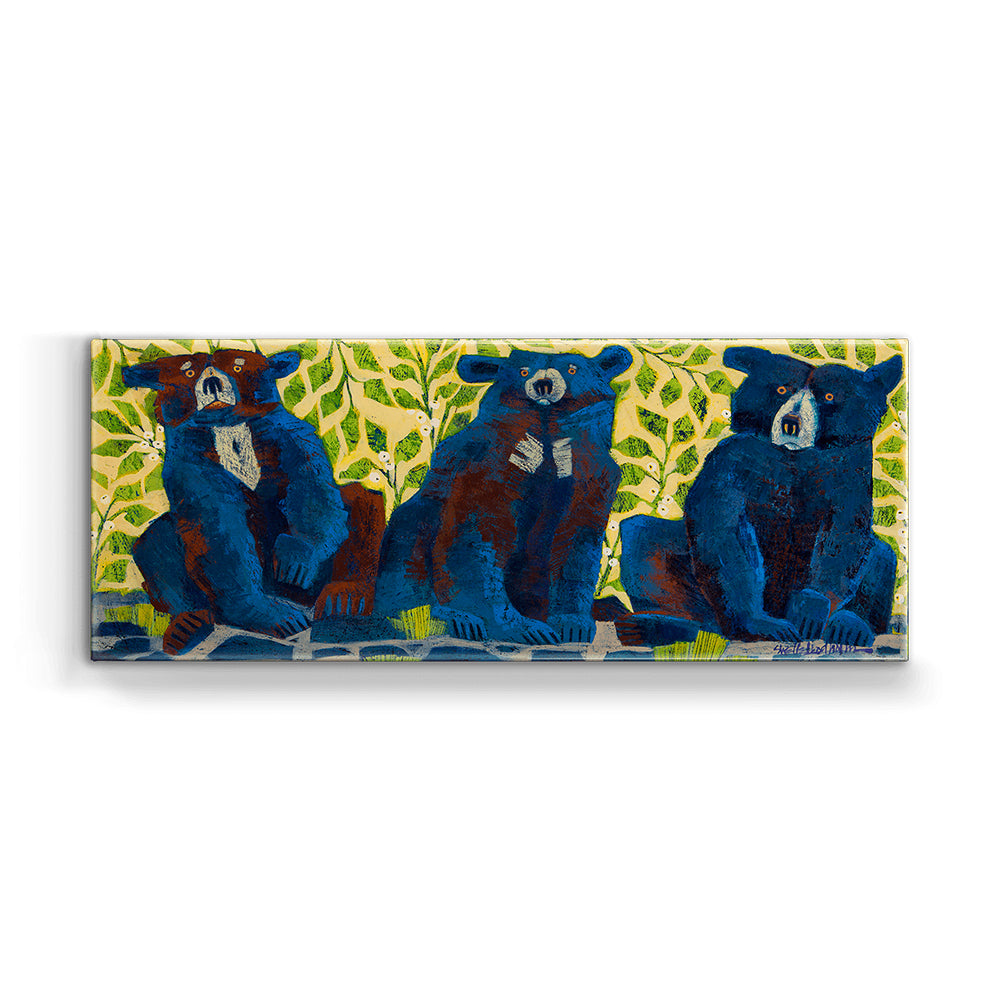 Shelle Lindholm Time Out Three Blue Bears Metal Box Wall Art by Meissenburg Designs