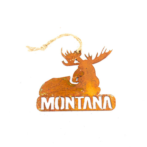 Sitting Moose Rustic Metal Montana Ornament by Recherche Furnishings