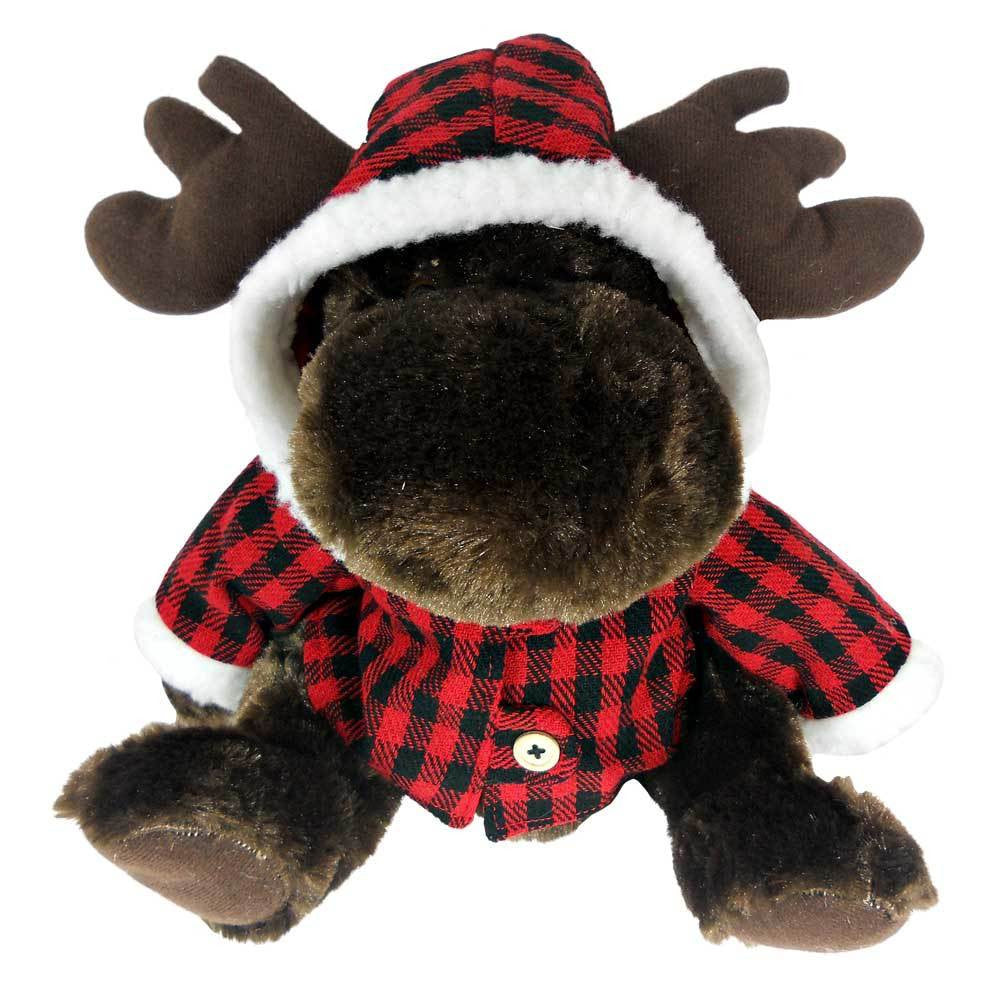 Sitting Moose with Red Plaid Jacket