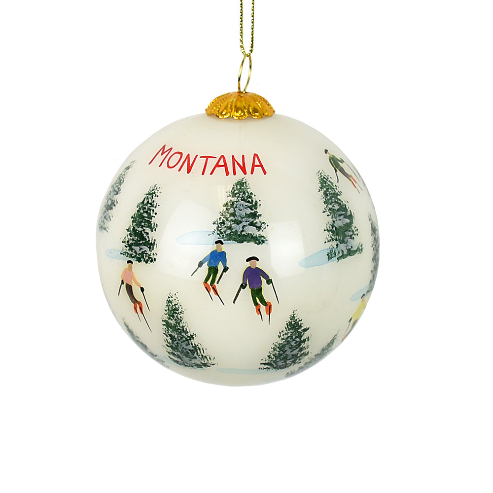 Skiing the Glades Montana Ornament by Art Studio Company