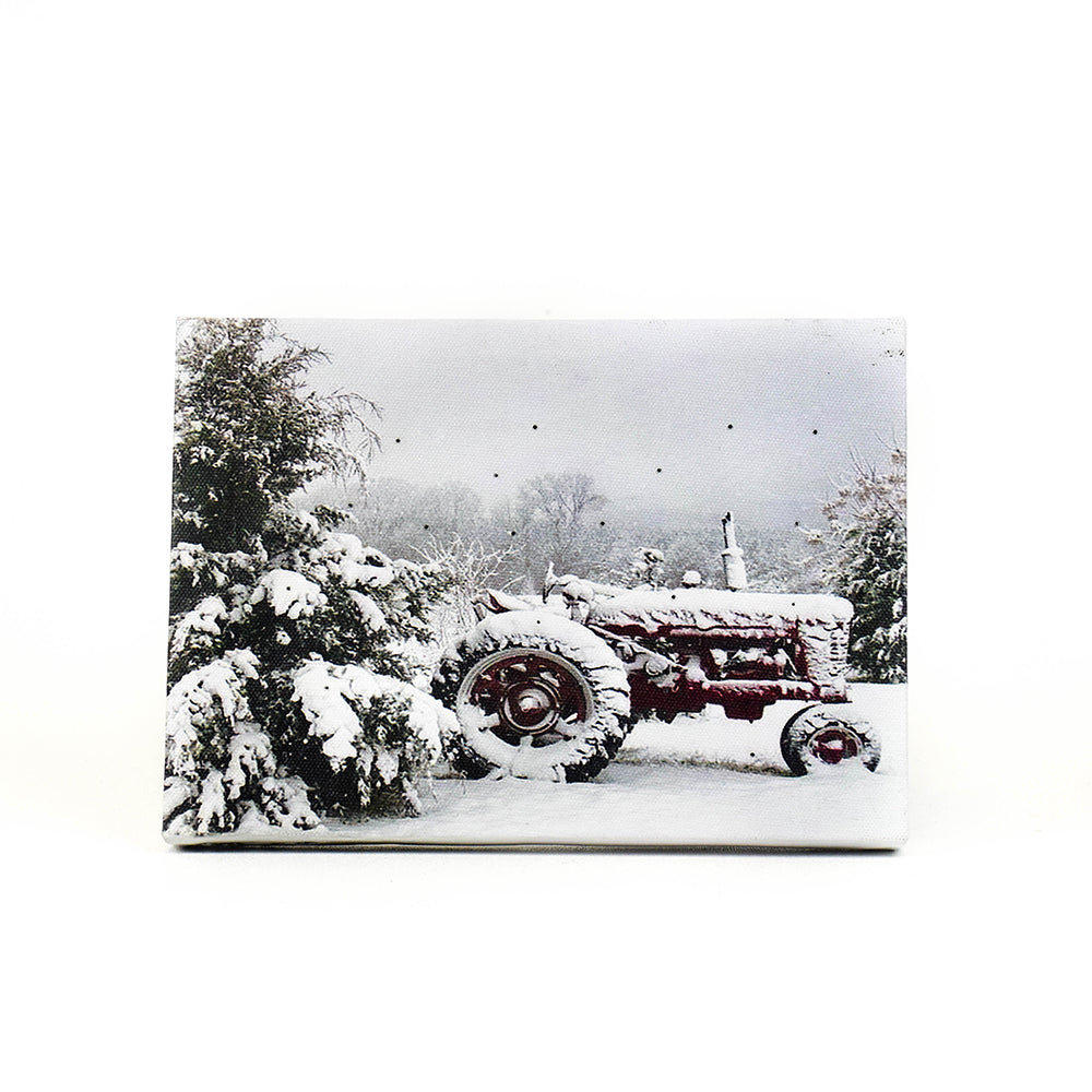 Snow-Covered Red Tractor Table Top Lit Art by Oak Street Wholesale