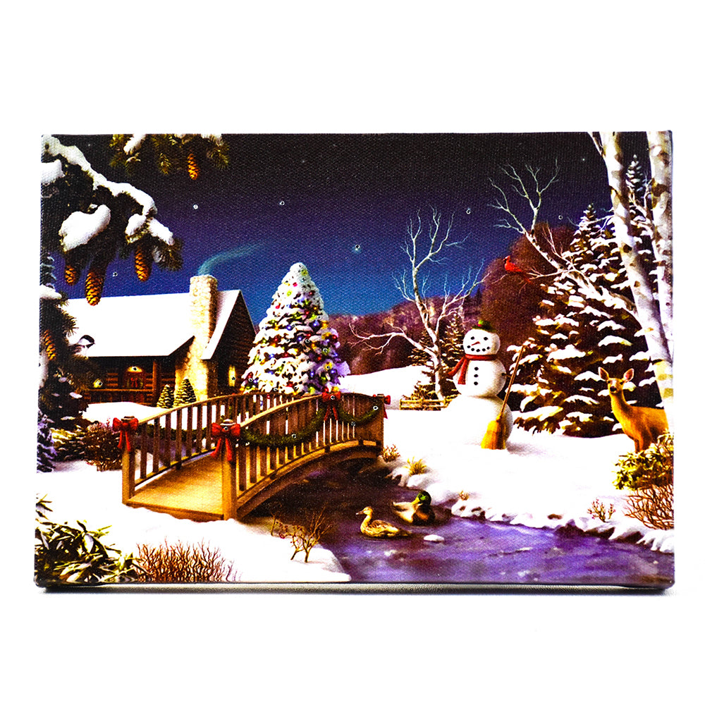 Snowman Scene Table Top Lit Art by Oak Street Wholesale