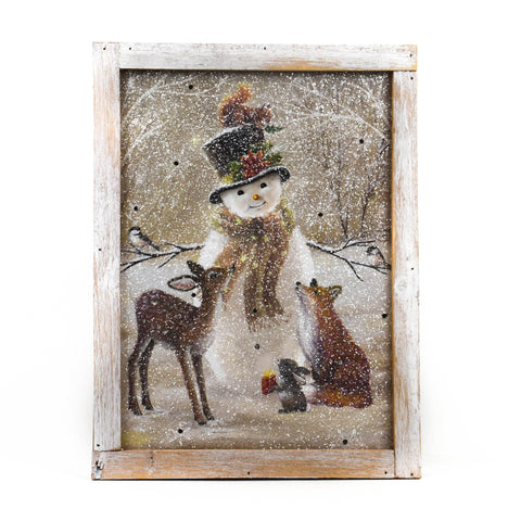 "Snowman and Friends 16"" LED Framed Print by Oak Street Wholesale"