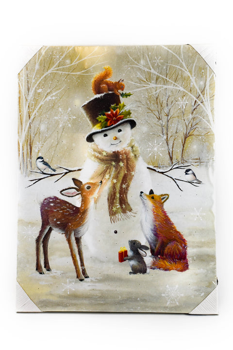 "Snowman and Friends 24"" LED Print by Oak Street Wholesale"