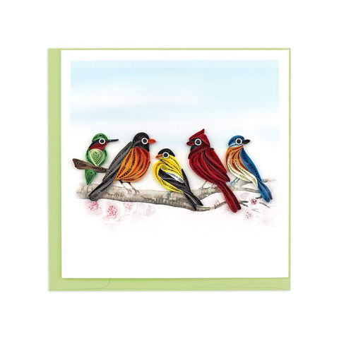 Songbirds Greeting Card by Quilling Card