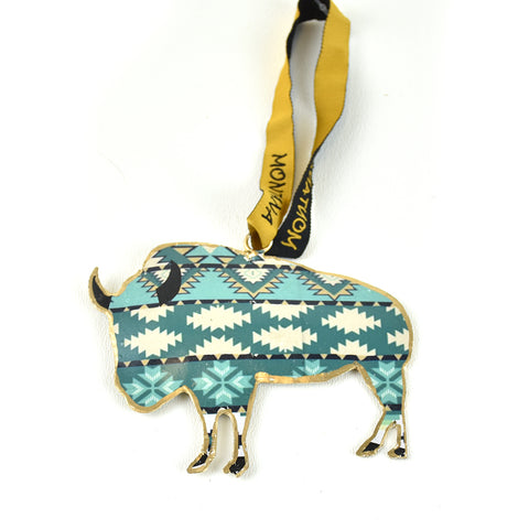 Southwestern Sea Buffalo Assorted Pattern Metal Christmas Ornament by Art Studio Company