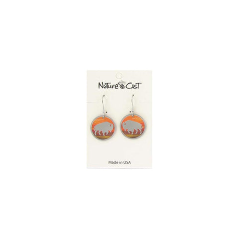 Sunset Round Bison Dangle Earrings by Nature Cast Metalworks