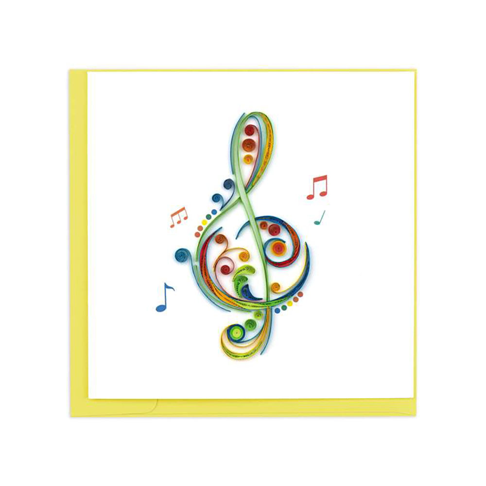 Treble Clef Greeting Card by Quilling Card