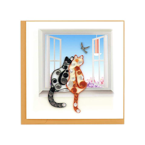 Two Cats Greeting Card by Quilling Card