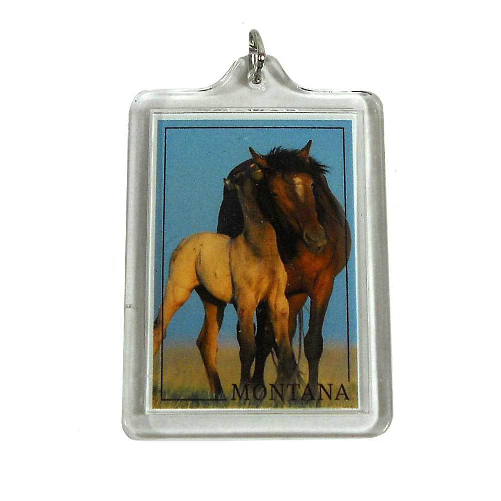 Wild Horse and Young Pony Montana Keychain