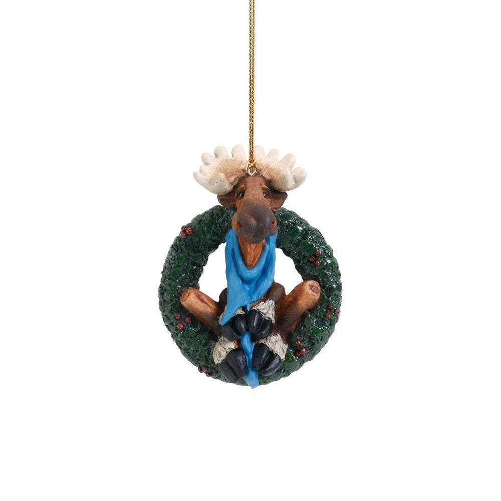 Winter Moose Wreath Christmas Ornament by Big Sky Carvers at Montana Gift Corral