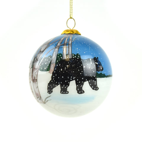 Winter Black Bear with Aspen Trees Montana Christmas Ornament by Art Studio Company