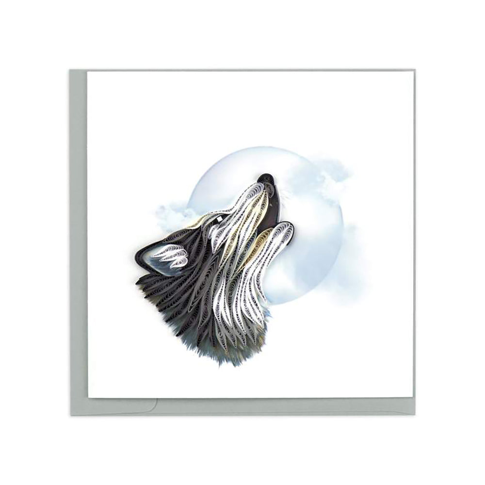 Wolf Howling at the Moon Greeting Card