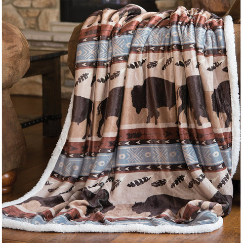 Wrangler Buffalo Sherpa Throw Blanket by Carstens