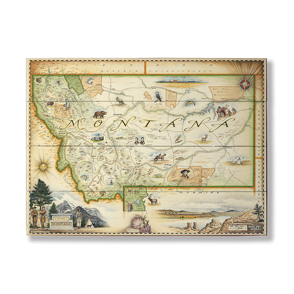 XPlorer Maps Montana State Map by Meissenburg Designs - Montana Gift Corral