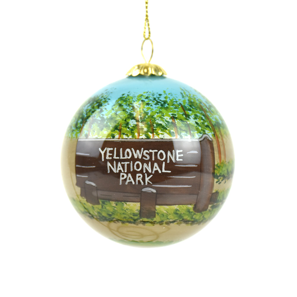 Yellowstone National Park Entrance Sign Montana Christmas Ornament by Art Studio Company