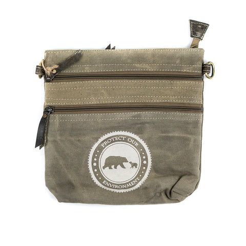 Every nature lover has just found their go-to bag! The Bear &Cub Protect Environment Brown Cross Body Bag is great for walking around and reminding everyone to protect our environment.