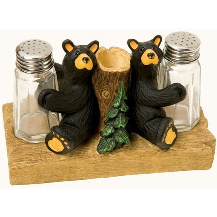 Bearfoots Bear Salt & Pepper with Toothpick Holder by Jeff Fleming