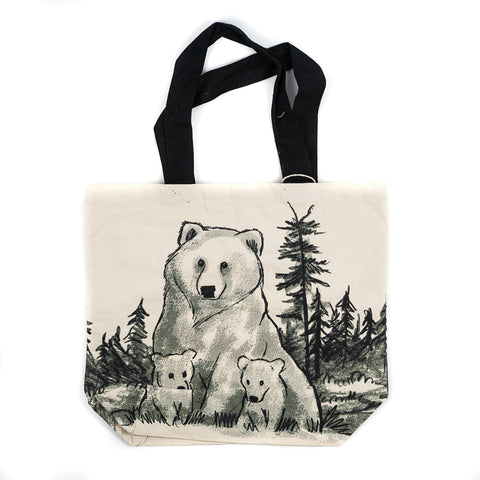 Black and White Hand Drawn Grizzly and Cubs Shopper Tote Bag by Art Studio Company