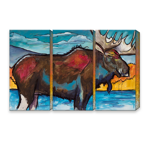Ed Anderson 3 Aluminum Panel Moose Wall Art