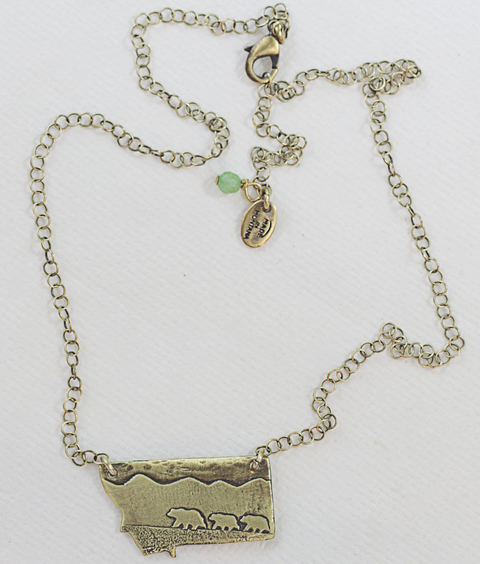 Antique Brass Mama and Cubs in MT Necklace by Daphne Lorna