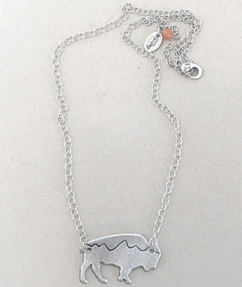 Mountains on Buffalo Necklace Matte Silver by Daphne Lorna