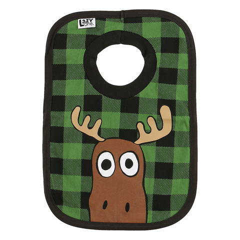 Moose Plaid Bib by Lazy One