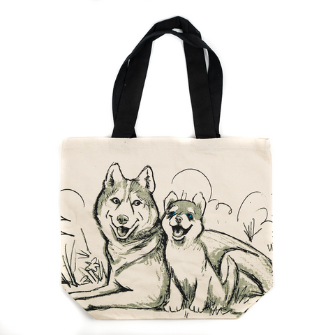 Husky and Puppies Shopper Tote by Art Studio Company