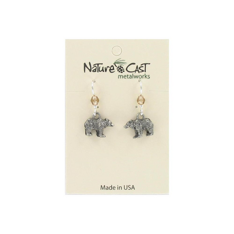 Dangle Bear Earrings from Nature Cast Metalworks