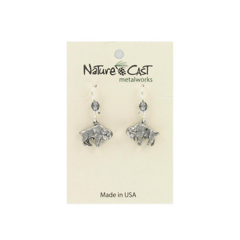 Dangle Buffalo Pewter Earrings from Nature Cast Metalworks