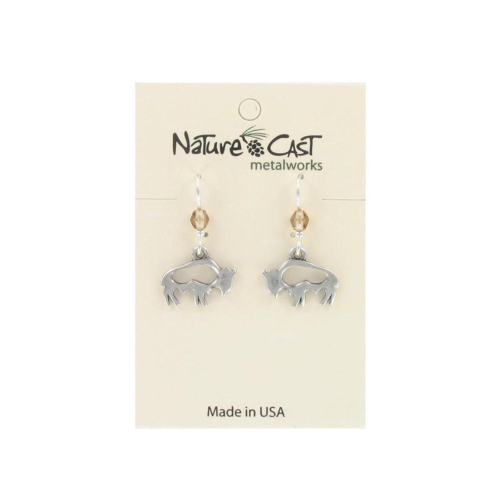 Dangle Cutout Buffalo Earrings from Nature Cast Metalworks