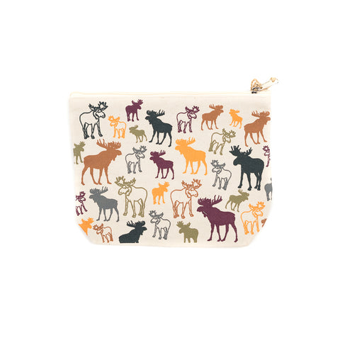 The Multi Color Moose Pouch by Art Studio Company makes organization easier with its durable canvas material and zipper.