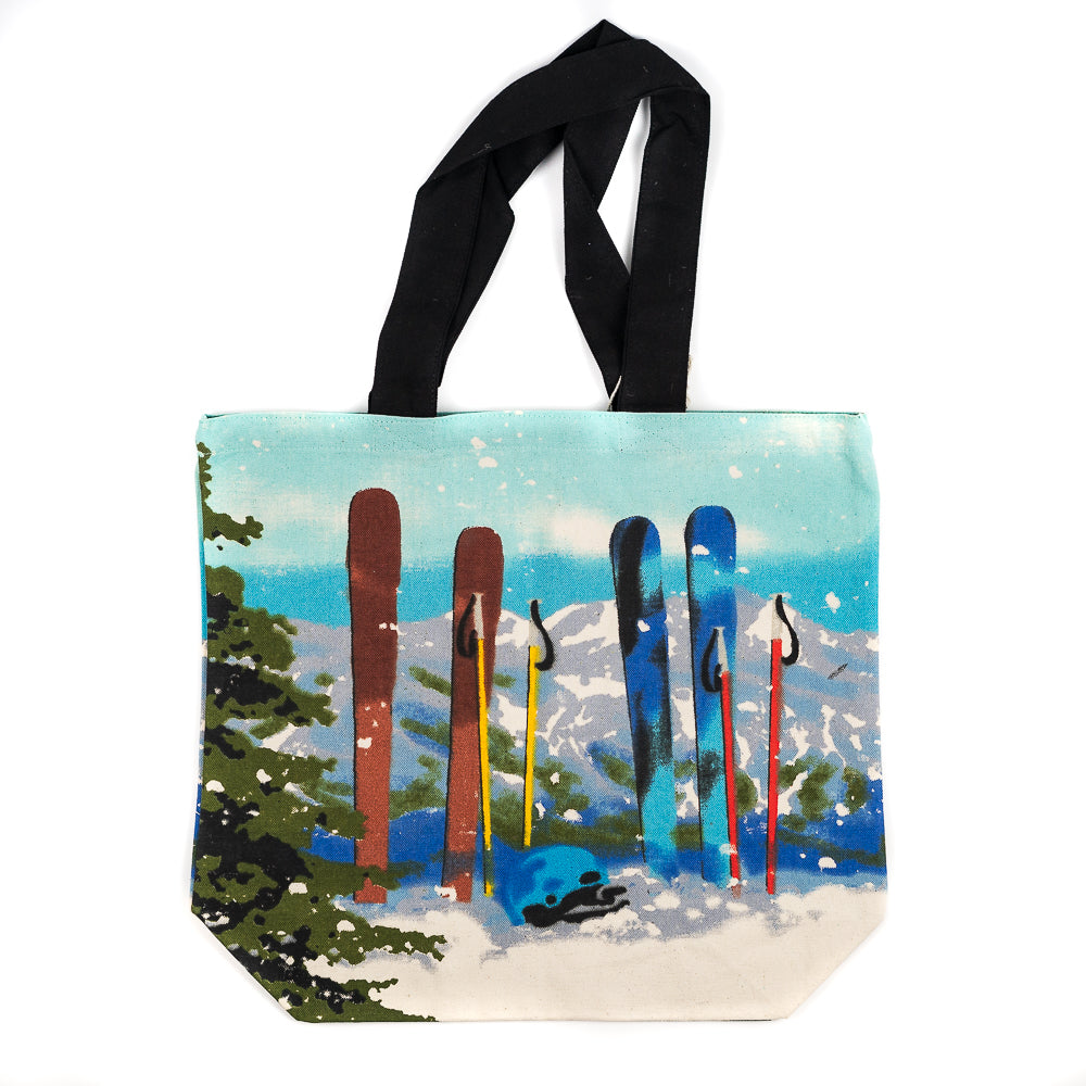 Ski Poles Shopper Tote by Art Studio Company