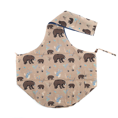 Tan and Blue Bear Printed Sling Bag by The Art Studio Company