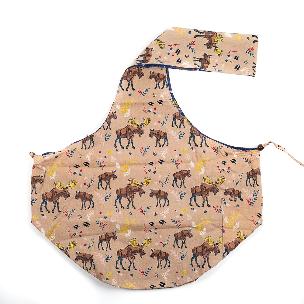 Tan/Blue  Moose Printed Sling Bag