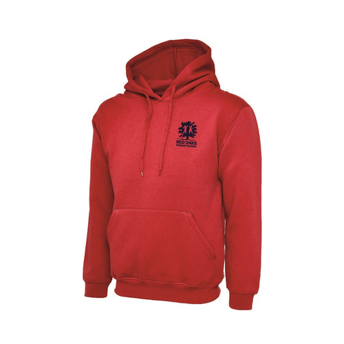 Red Oaks Primary School Hoodie (RED with Navy Logo) - FOR STAFF ONLY!