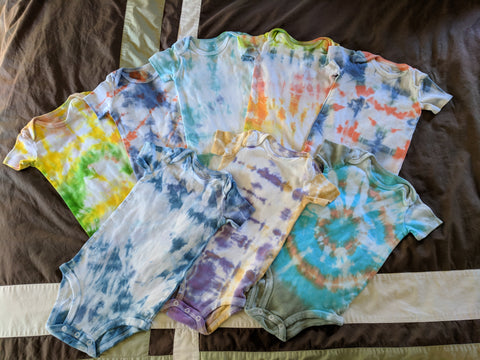 gorgeous earth. baby clothes. onsies. tie dye.
